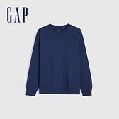 Gap男裝 純棉寬鬆圓領長袖T恤 842332-藍色