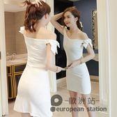 洋裝/赫本小黑裙蝴蝶結一字肩性感收腰顯瘦包臀紅色連身裙女夏新款「歐洲站」