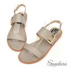 涼鞋 造型金釦一字帶平底涼鞋-灰