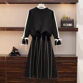 中大尺碼L-4XL/8901實拍2019新款秋裝大碼女裝針織衫兩件套洋氣減齡胖妹毛衣套裝4F025..1號公館