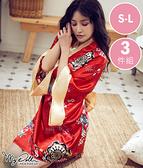 櫻花奈奈 印花柔緞面和服睡衣三件組(紅x黑色/S到L適穿) MyDoll