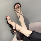 促銷全場九折 涼鞋年新款仙女風夏天韓版時尚百搭網紅ins潮水鉆露趾粗跟鞋