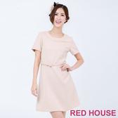 【RED HOUSE 蕾赫斯】金蔥格紋仿毛料洋裝(米色)