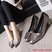 春季女鞋方扣中高跟粗跟低跟尖頭淺口工作鞋新款韓版百搭單鞋CY潮流站