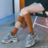 襪子 長筒韓版薄款小腿襪日系女生學院風及膝條紋高筒運動棒球潮 df2383【潘小丫女鞋】