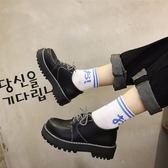 日系復古女平底單鞋學生原宿娃娃鞋百搭韓版學院風英倫厚底小皮鞋 【PINK Q】