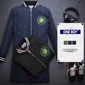 『 One Boy 』【N78636】英倫搖滾龐克徽章飛行保暖外套