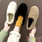 豆豆鞋厚底孕婦毛毛鞋女冬秋加絨棉鞋懶人一腳蹬【聚可愛】