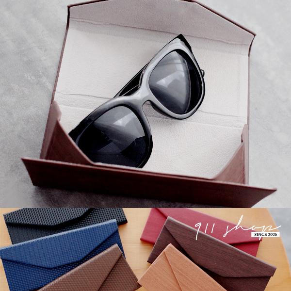 Planet.格紋/木紋折疊磁扣三角形眼鏡盒收納盒【e115】*911 SHOP*