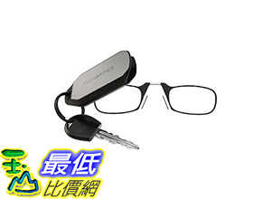 [106美國直購] 閱讀用眼鏡式攜帶型放大鏡 ThinOPTICS Keychain Reading Glasses, Black Frame, 1.00 Strength