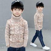男童高領毛衣秋冬新款男孩加絨加厚針織衫線衣套頭中大兒童潮