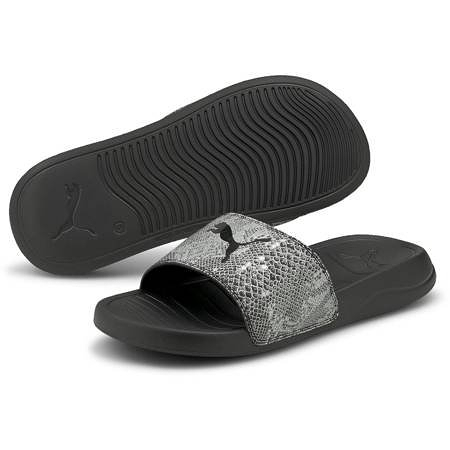 PUMA Popcat 20 Wns Untamed 女款灰色蛇紋休閒涼拖鞋 37510801