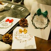 【BlueCat】聖誕節蝴蝶結草圈卡片信封