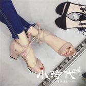 半拖鞋 一字帶粗跟涼鞋女版學生百交叉綁帶感露趾羅馬高跟涼鞋女