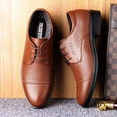 皮鞋 涼鞋男士夏季鏤空透氣商務正裝軟底系帶夏天皮涼鞋洞洞皮鞋男