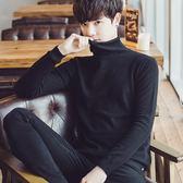 冬季男士高領毛衣韓版潮流個性修身加絨加厚針織衫純色打底衫學生『櫻花小屋』