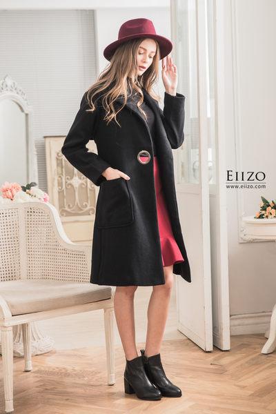 【EIIZO】英倫風羊毛挺版大衣(黑)