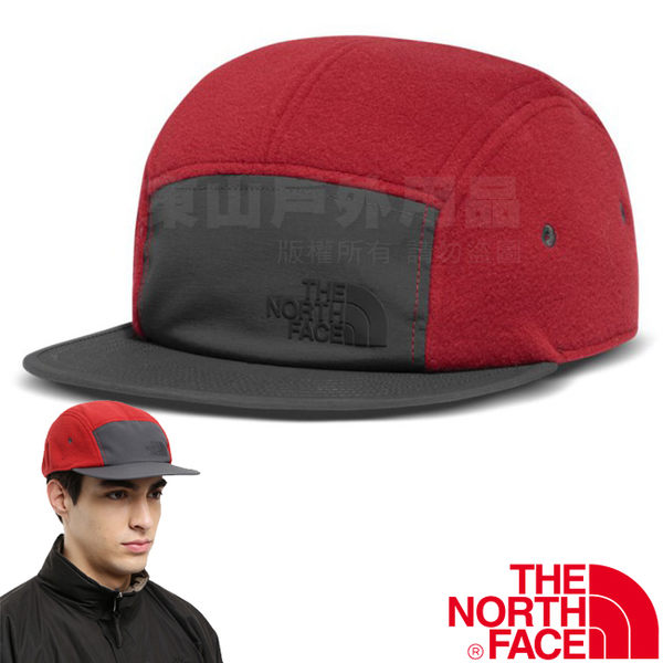The North Face TNF 2T6C-619紅 撞色保暖刷毛棒球帽 板帽遮陽帽/旅遊帽/卡車司機帽/鴨舌帽