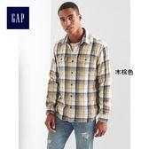 Gap男裝 舒適純棉斜紋法蘭絨長袖襯衫 864645-木棕色