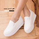 [Here Shoes] 4.5CM 舒適乳膠鞋墊 皮革質感素面 厚底增高鬆糕鞋 懶人鞋 護士鞋 MIT台灣製─KT615