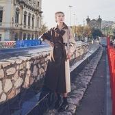 風衣外套-長款撞色雙排扣寬鬆時尚女大衣2色73yr41[巴黎精品]