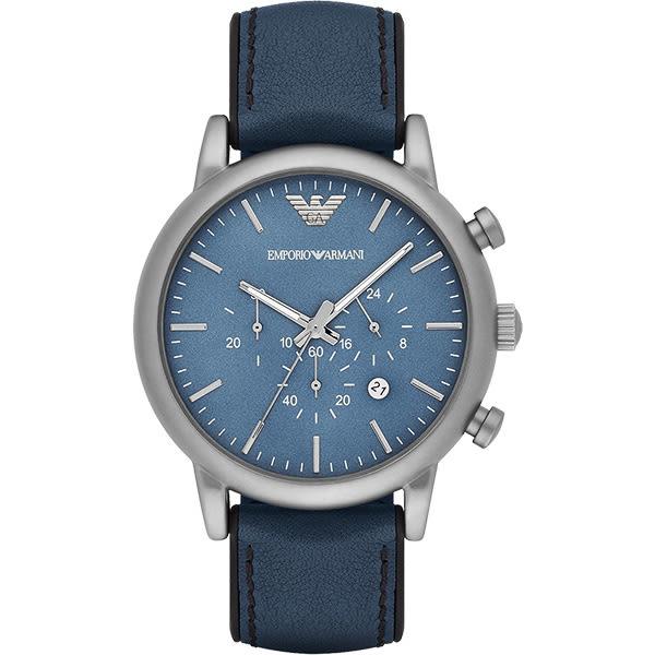 Emporio Armani 亞曼尼 Classic 都會計時石英手錶-藍/46mm AR1969