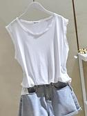 2021夏季新款寬鬆棉麻純白色毛邊圓領無袖背心女T恤外穿吊帶上衣 喵小姐