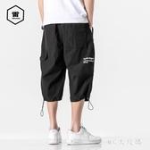 夏季日系潮流字母印花七分褲男加肥加大碼寬鬆胖子束腳工裝褲 FX5121 【MG的尺碼】