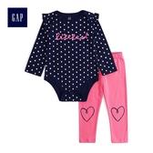 Gap女嬰兒 荷葉邊圓領長袖包屁衣長褲套裝 497709-海軍藍色
