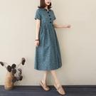 森女系洋裝 春季文藝棉麻短袖連身裙收腰顯...