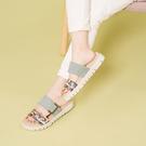 德國 GABOR 鱷魚紋雙寬帶厚底拖鞋 綠 43.740.58 女鞋