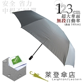 雨傘 萊登傘 超大傘面 可遮三人 易甩乾 不回彈 無段自動傘 鐵氟龍 Leighton 冷色灰