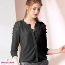 【SHOWCASE】優雅花蕾絲透接拼接薄小針織外套(黑色)