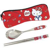 HELLO KITTY不鏽鋼餐具組筷子湯匙環保餐具組附收納袋紅色款 166155【77小物】