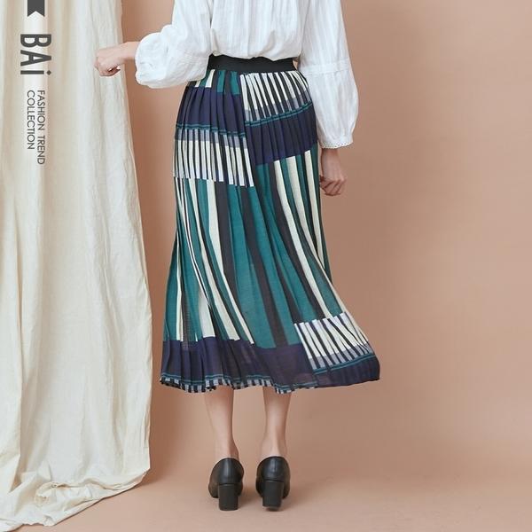 長裙 幾何直條色塊拼接壓摺鬆緊過膝裙-BAi白媽媽【190980】