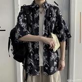日系薄款復古卡通襯衣夏威夷短袖花襯衫男寬鬆潮流學生百搭五分袖 樂事館新品