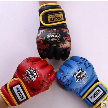設計師美術精品館五龍MMA分指拳擊手套 格鬥/散打/龍紋手套 半指沙袋手套 搏擊拳套