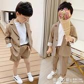 兒童小西裝套裝男童休閒西服外套韓版潮寶寶夏季小童帥氣演出禮服 怦然心動