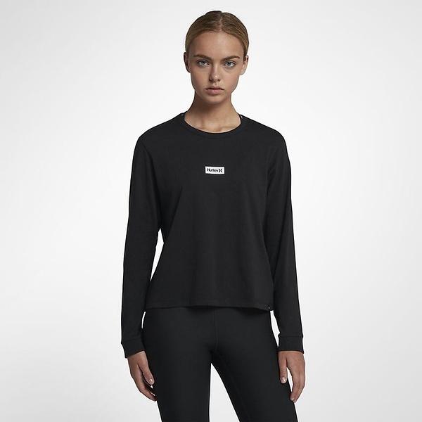 HURLEY 女 ONE & ONLY BOX PERFECT LONG SLEEVE 長袖T恤-黑