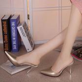 降價優惠兩天-半拖鞋女士夏半拖尖頭包頭涼鞋細跟性感中跟時尚外穿新品高跟