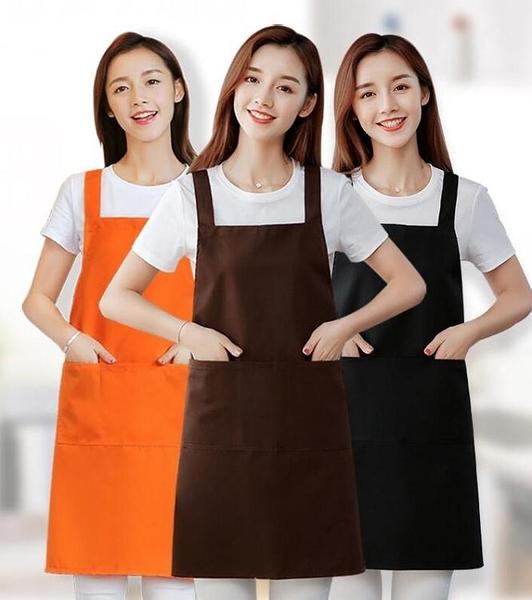 圍裙家用廚房服務員純棉工作服女時尚男防水防油圍腰定制LOGO印字 南風小鋪