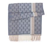 【GUCCI】GG Logo灰藍條紋羊毛圍巾(尼羅河藍) 391530 4G944 4779