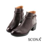 SCONA 蘇格南 全真皮 率性編織側帶厚底短靴 咖啡色 8788-2