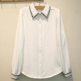 白襯衫女長袖秋冬寬鬆大碼加厚襯衣韓范學生百搭打底上衣【快速出貨】
