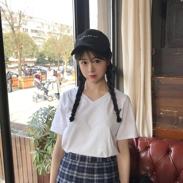[協貿國際]V領純色衫套頭T恤3色短款修身顯瘦上衣1入