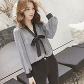 DE SHOP~(XA-5577)V領蝴蝶結格子燈籠袖雪紡寬鬆襯衫上襯衫