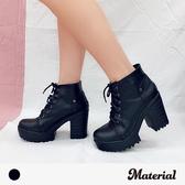 厚底短靴 素面綁帶高跟短靴 MA女鞋 T7781