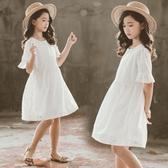 女童雪紡裙 白色洋裝2020夏季新款韓版中童小女孩裙子兒童純棉娃娃裙