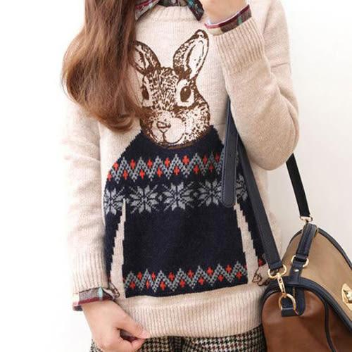 長袖針織衫 俏皮可愛兔子圓領針織上衣 艾爾莎【TAE4165】