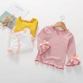 女童打底衫春季新品上市新款純色 棉質長袖t恤兒童上衣白色寶寶秋裝潮
